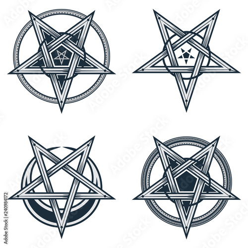 Photo Set of stylish pentagrams with moon symbol