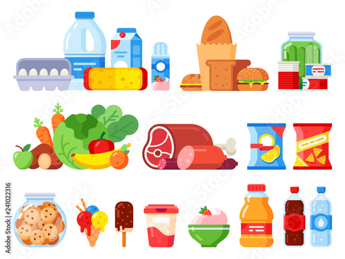 Food products. Packed cooking product, supermarket goods and canned food. Cookie jar, whipped cream and eggs pack flat vector icons
