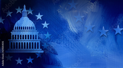 Fotografiet Government Capitol building with ring of stars graphic abstract background