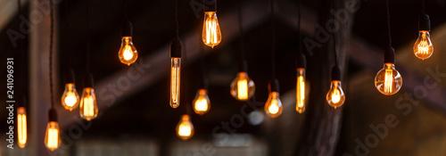 Obraz na plátne retro lighting Many decorative light bulbs