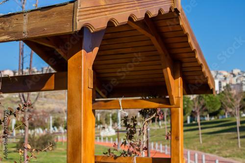 Fototapeta Garden arbour bench design detail