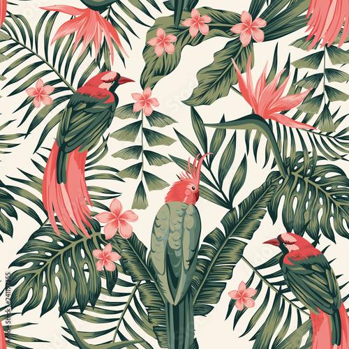 Carta da parati Tropical plants flowers birds abstract colors seamless