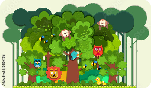Canvas Print Paper art style of cute cartoon wild animals in forest , Paper cut cartoon polyg