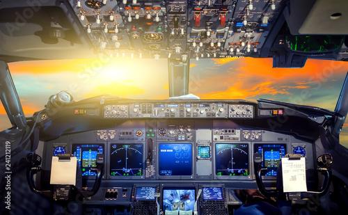 Fotografie, Tablou Sunrise cockpit Flight Deck