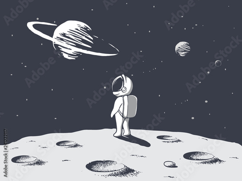 Photographie Funny astronaut looks to universe