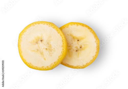 Obraz na płótnie banana slice isolated on white background. top view