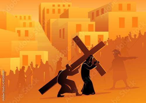 Fotografia Simon of Cyrene Helps Jesus Carry His Cross