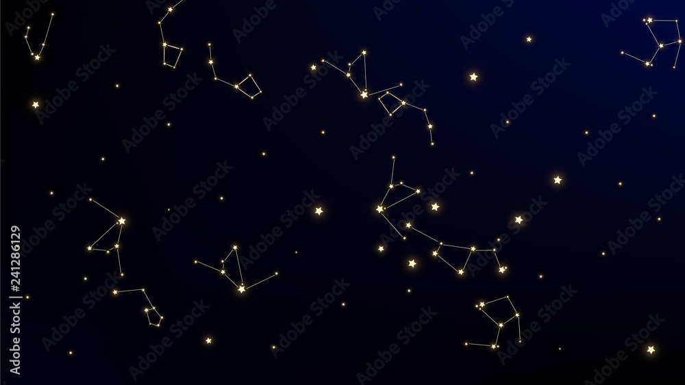 Constellation Map. Mystic Cosmic Sky with Many Stars. Gradient Blue Galaxy Pattern. Astronomical Print. Vector Milky Way Background.