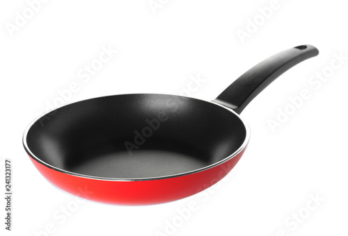 Modern clean frying pan isolated on white