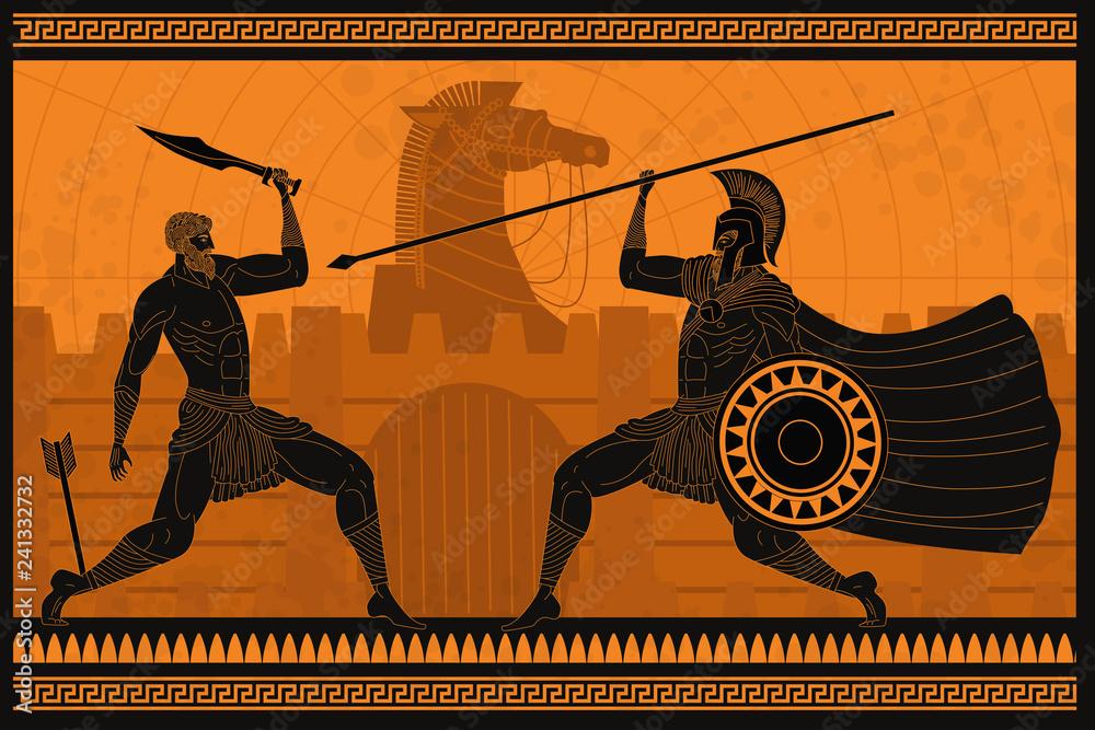 ceramika pomarańczowo-czarna figurka amfora obraz wojny troy z hektorem walki Achillesa <span>plik: #241332732   autor: matiasdelcarmine</span>