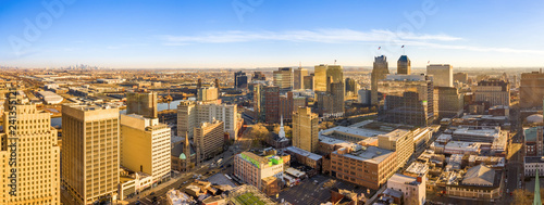 Aerial panorama of Newark New Jersey skyline on late sunny afternoon
