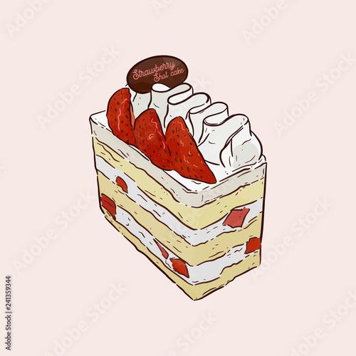 Obraz na plátne A strawberry shortcake topped with a fresh strawberry, hand draw sketch vector