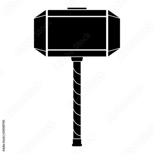 Obraz na plátne Thor's hammer Mjolnir icon black color vector illustration flat style image