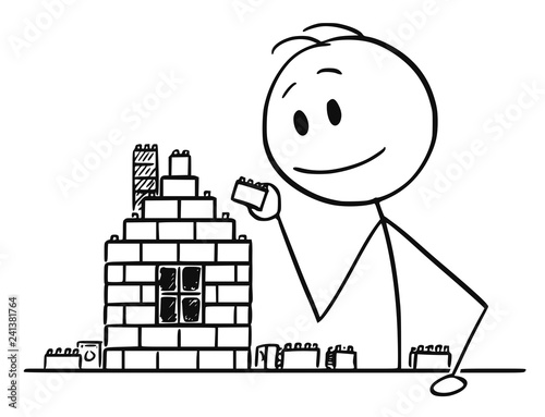 Obraz na płótnie Cartoon stick drawing conceptual illustration of boy, man or businessman playing with brick or block construction toy building a family house