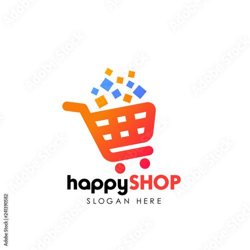 Obraz na plátně happy shopping logo design template. shopping cart vector icon