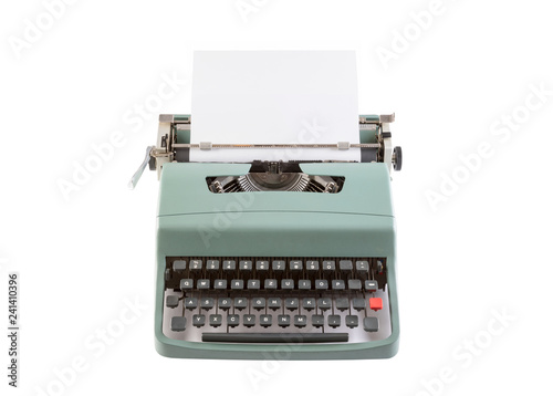 Vintage typewriter header with paper isolated on white background with clipping path
