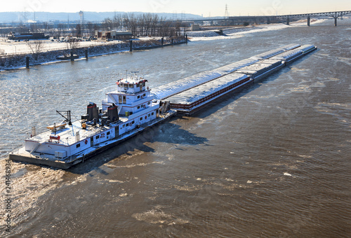 River barge on the Illinois River in the winter time Fotobehang