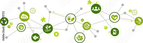 Obraz na płótnie sustainability icon concept: renewable energy, ecology, environmental protection