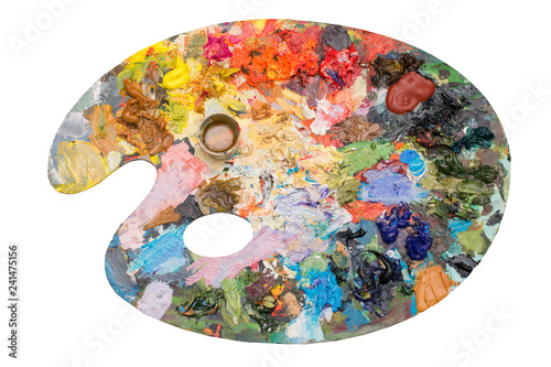 Photo Art palette with acrylic paints on an isolated background
