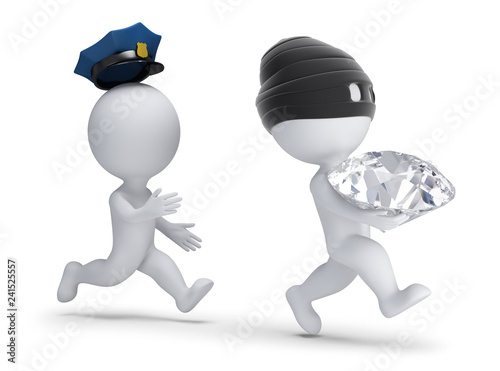 Fotografia 3d small people - thief stole the diamond