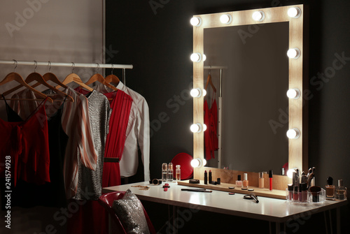 Valokuvatapetti Stylish room with dressing table, mirror and wardrobe rack