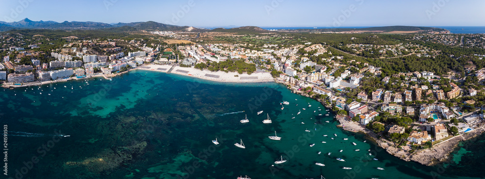 Aerial view, view of Santa Ponca and the marina, behind the Serra de Tramuntana, Mallorca, Balearic Islands, Spain
