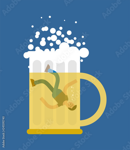 Valokuva Man in beer mug. Beers lovers. Dropped into mug