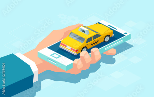 Photo Isometric design of taxi app