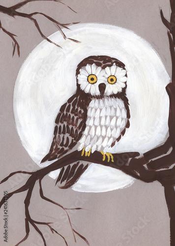 Obraz na płótnie Sowa na gałęzi na tle księżyca