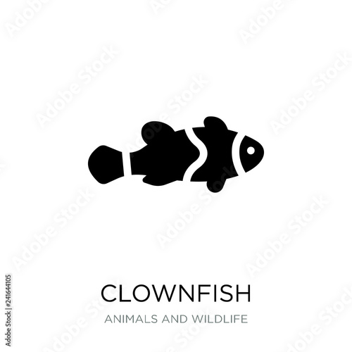 Fotomural clownfish icon vector on white background, clownfish trendy fill