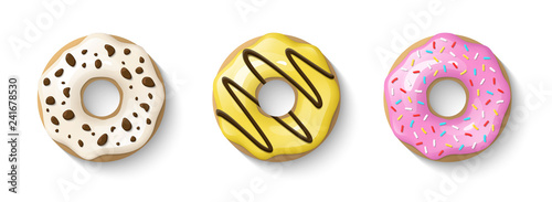 фотография Donuts set isolated on a white background