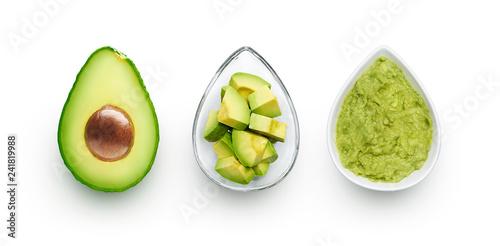 Foto Avocado, cut avocado and avocado spread