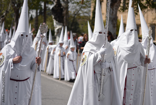 Fotografia, Obraz the penitence of religious men dressed in white, the days of the Easter week