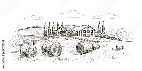 Rural landscape, village sketch. Farm, vintage vector illustration