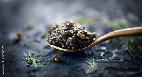 Black caviar in a spoon on dark background. Natural sturgeon black caviar closeup. Delicatessen
