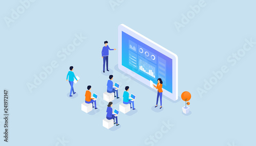Fotografia isometric  business  team present report graph  on monitor dashboard and busines
