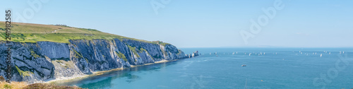 Canvas Print Panoramic view over the Needles of the Isle of Wight in UK.