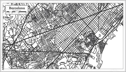 Fotografie, Obraz Barcelona Spain City Map in Retro Style. Outline Map.