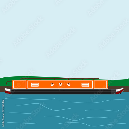 Fotografia Editable Side View Narrow Boat at River Bank Vector Illustration With Water Wave