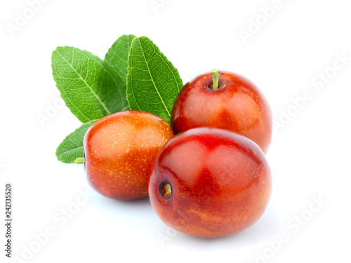 Jujube; Ziziphus fruits with leaves isolated.