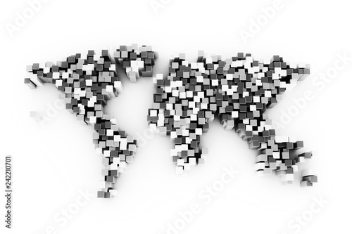 World map made from 3d cubes, illustration