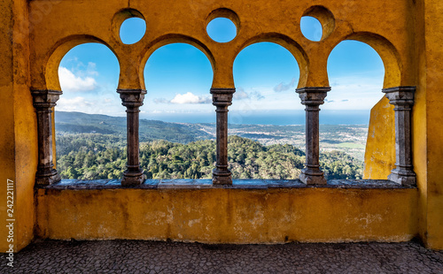 Stampa su Tela View of Valley through Arched Wall of Pena Palace
