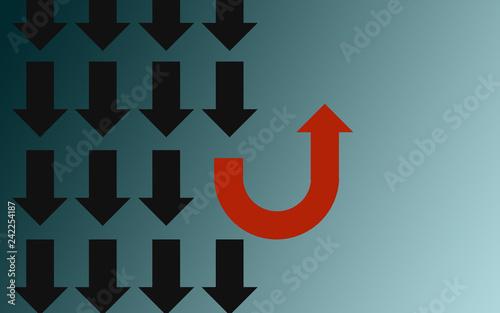 Obraz na plátně Different thinking concept with u turn arrow