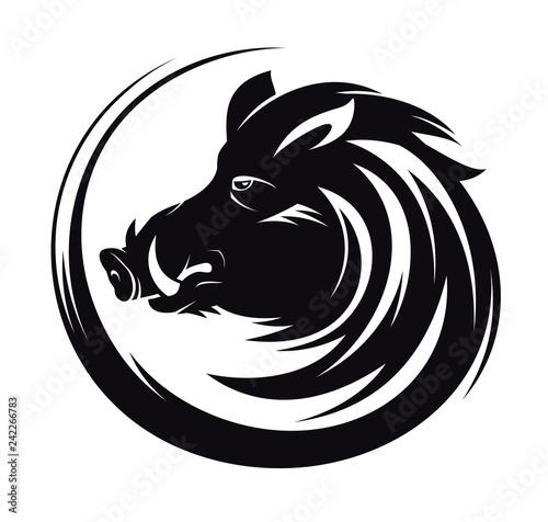 Fototapeta Boar head profile silhouette, art tattoo illustration