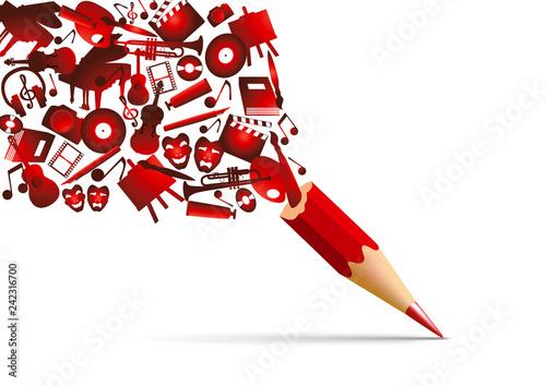 Vászonkép Concept de l'espace culturel avec l'univers de la création artistique symbolisé par des pictogrammes qui s'échappent d'un crayon de couleur rouge