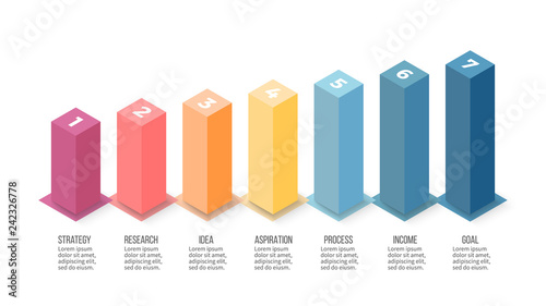 Isometric infographics. Bar chart, graph with 7 steps, options. Vector template.