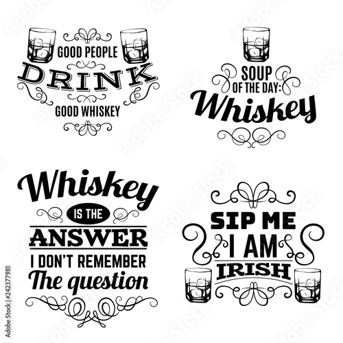 Fotografia Vector set of quote typographical background about whiskey