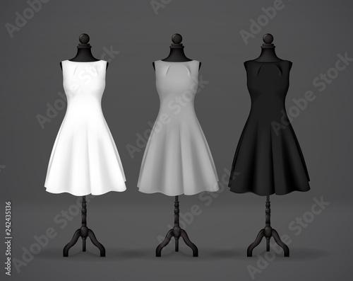 Women's black, gray and white basic dress mockup on mannequin Fototapeta