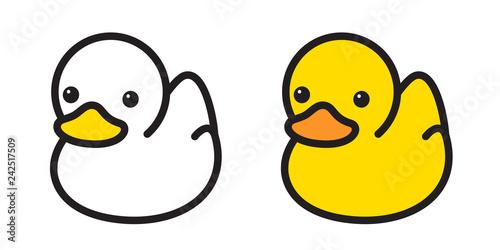 duck vector icon logo rubber duck bath shower cartoon character illustration bir Fototapeta