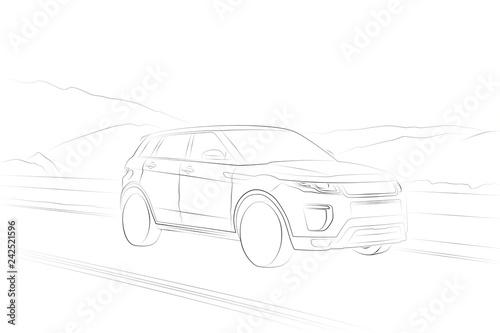 фотография Range Rover Evoque SUV car line drawing